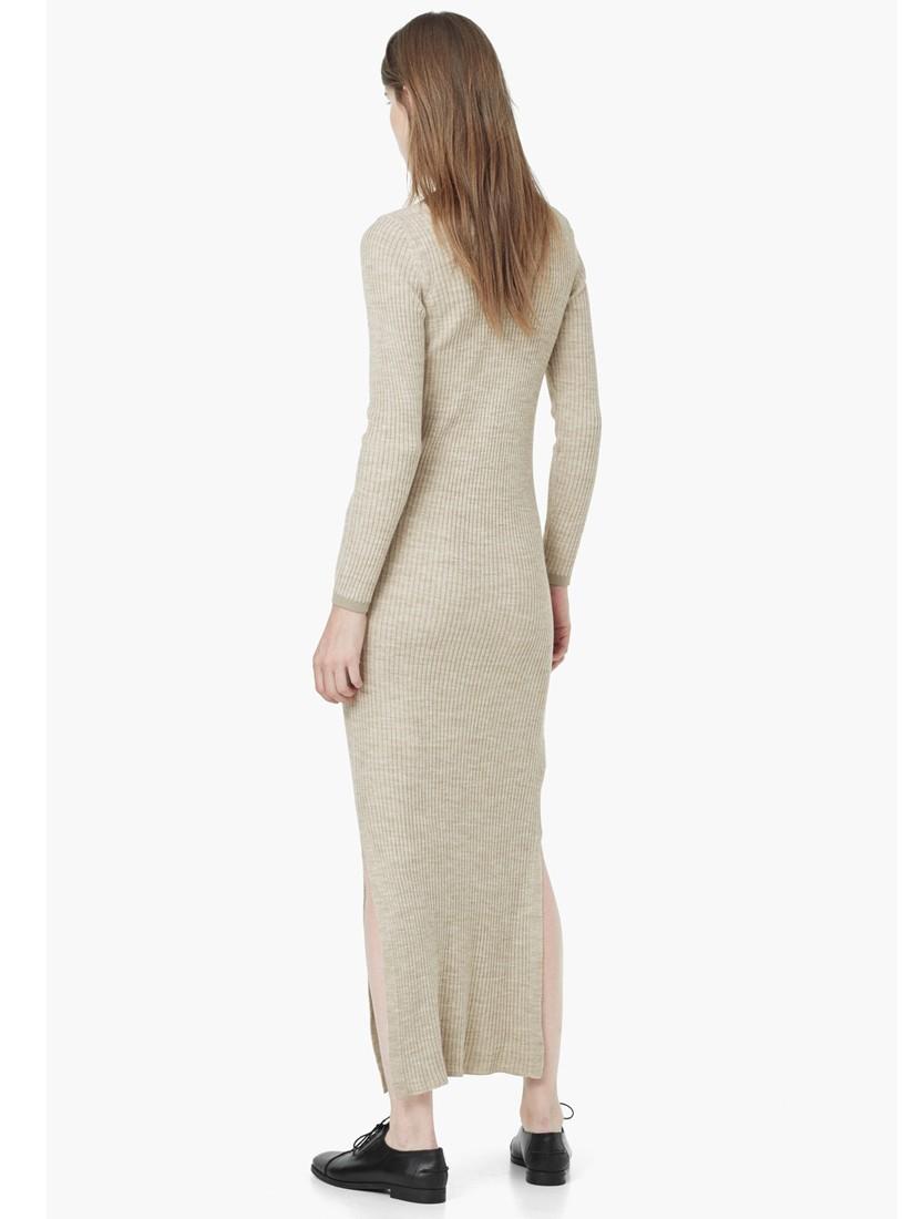 9e1e6d4c0ec4 Mango Ribbed Long Maxi Dress in Natural - Lyst