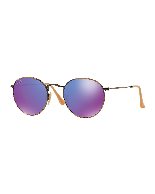 ray ban round metal sunglasses in purple bronze violet. Black Bedroom Furniture Sets. Home Design Ideas