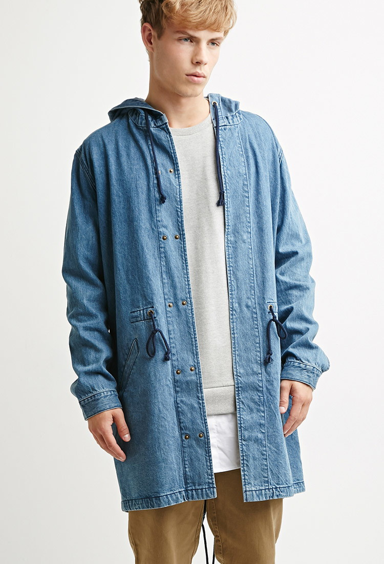 Forever 21 Hooded Denim Parka in Blue for Men | Lyst