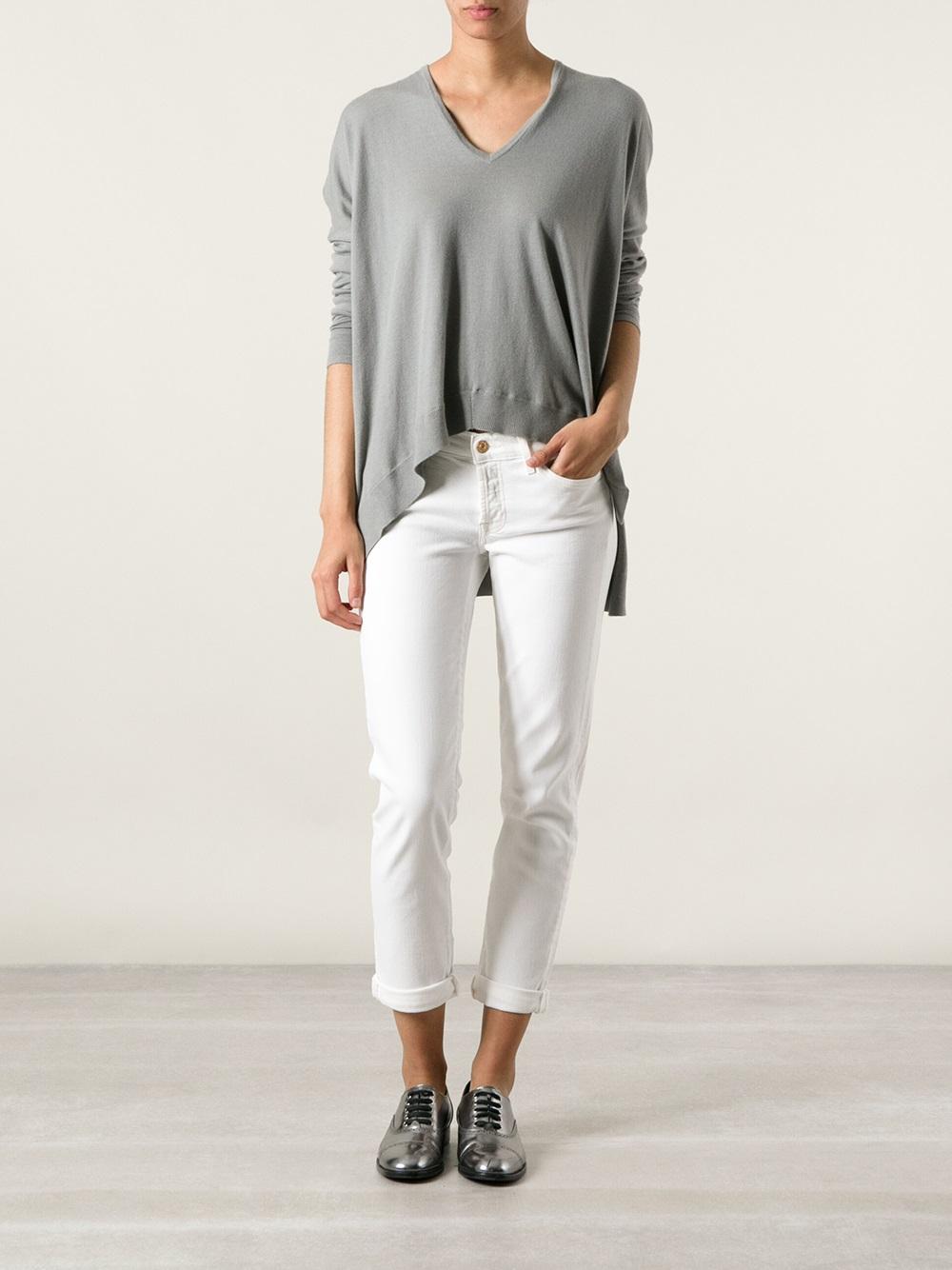 7 for all mankind Josefina Boyfriend Jeans in White | Lyst