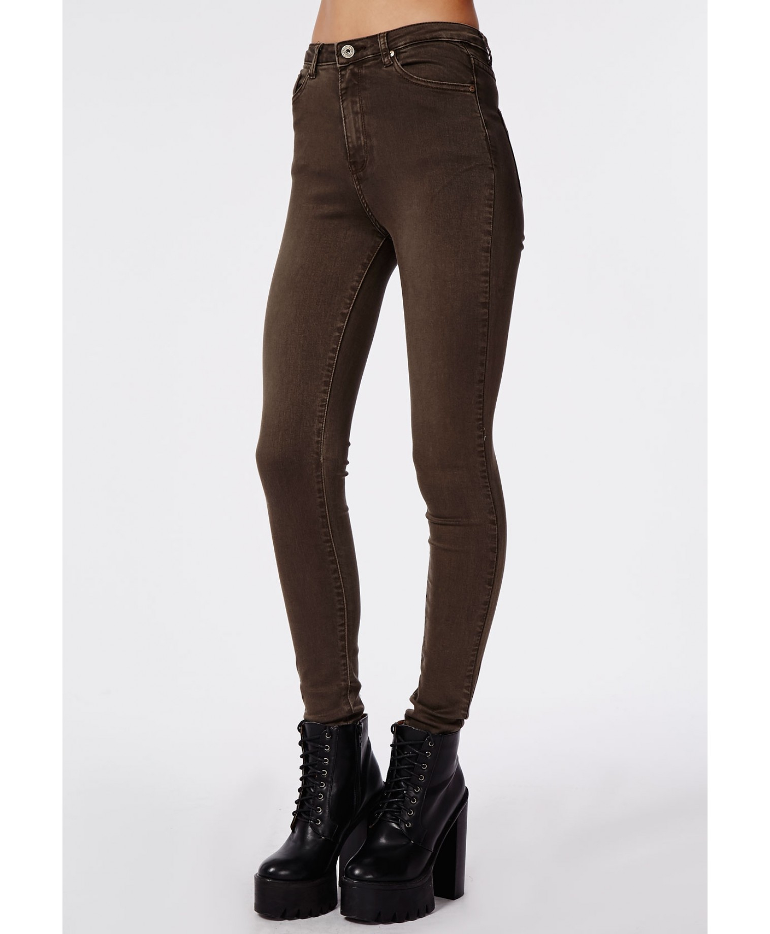 Missguided Cecily High Waisted Supersoft Skinny Jeans Dark Brown
