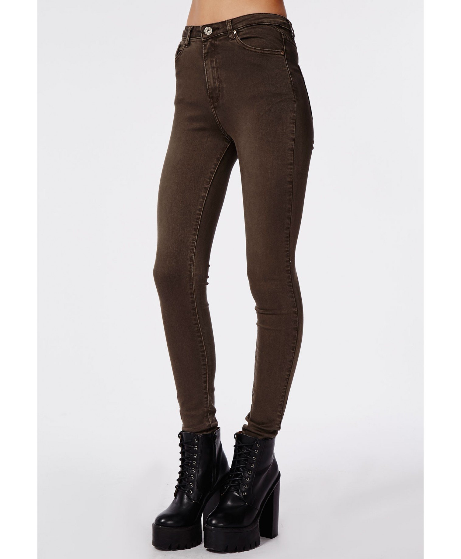 Missguided Cecily High Waisted Supersoft Skinny Jeans Dark Brown ...