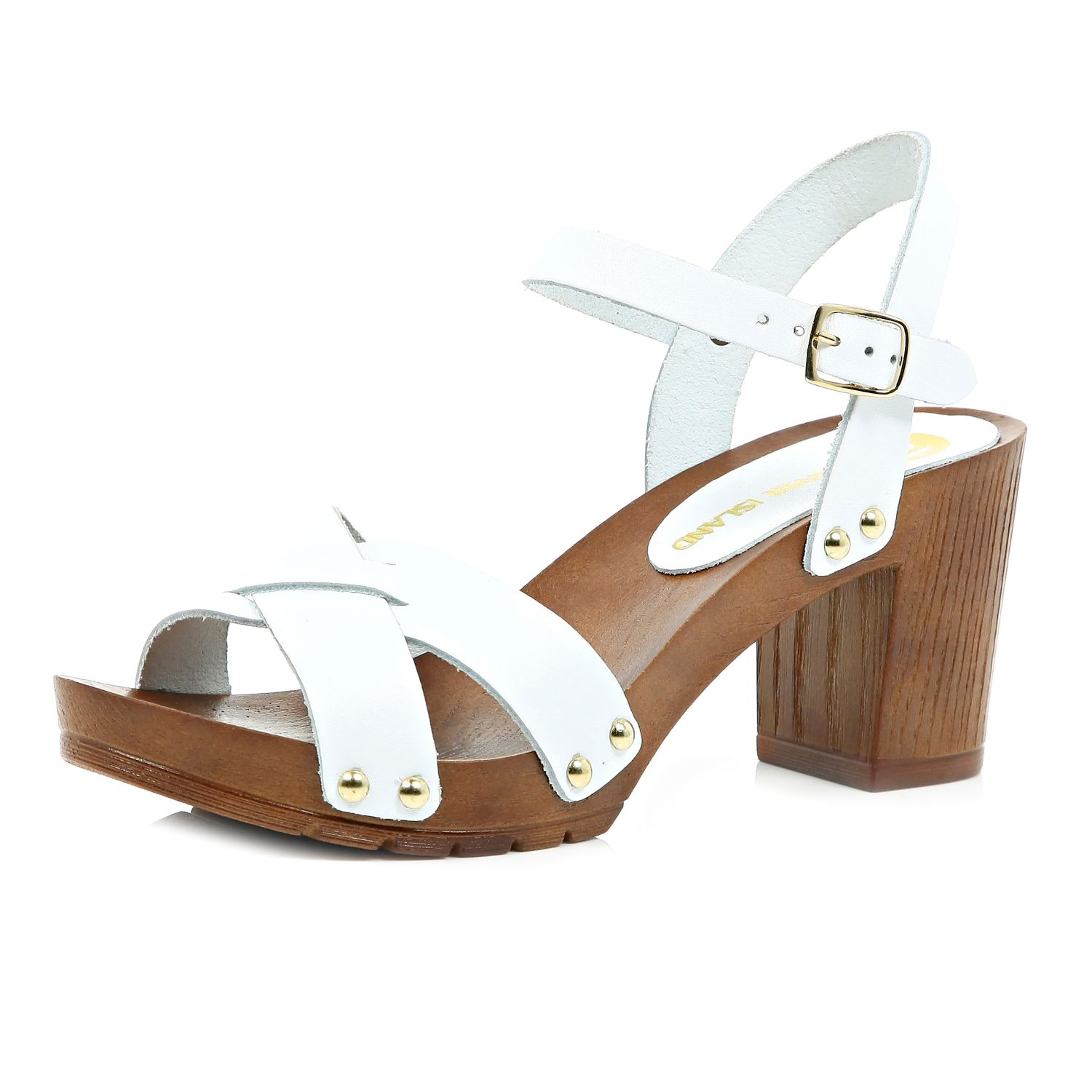 7fd9e48c56 River Island White Leather Wooden Heel Clog Sandals in White - Lyst