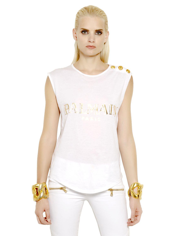 Balmain sleeveless logo printed cotton tshirt in white lyst for Balmain white logo t shirt