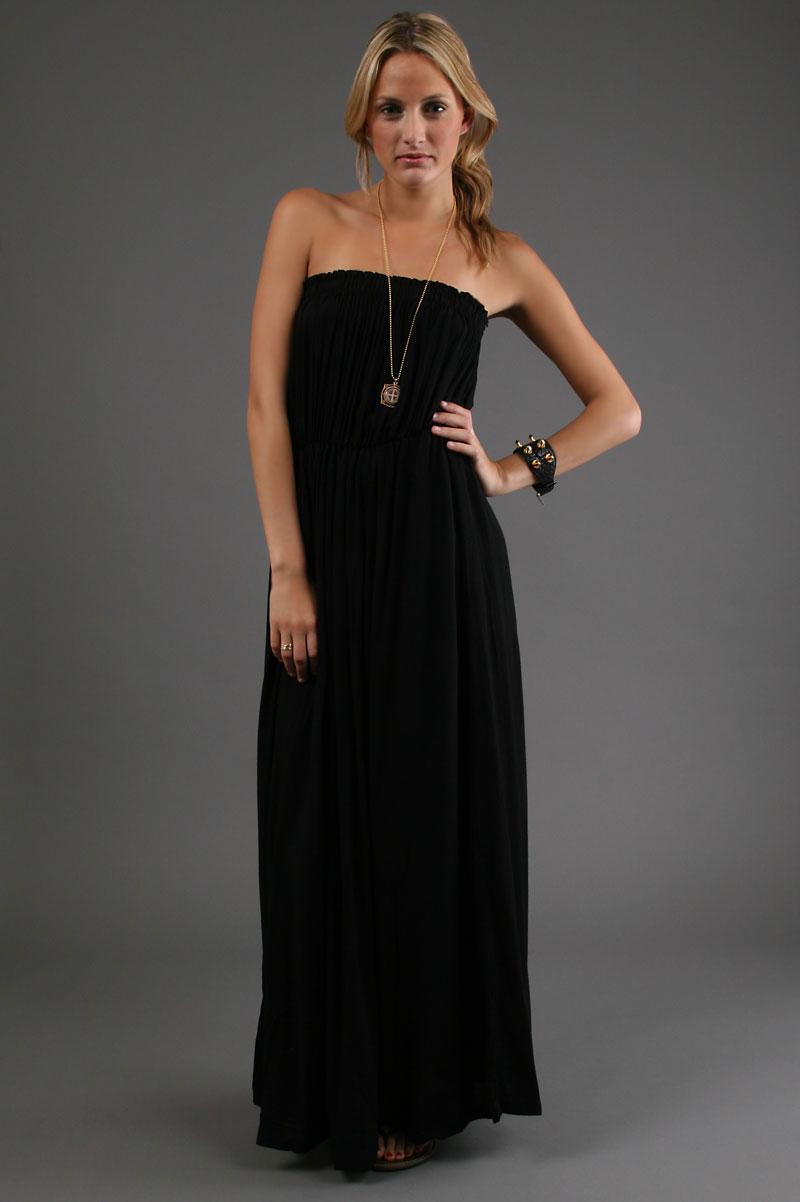 Images of Strapless Black Maxi Dress - Reikian