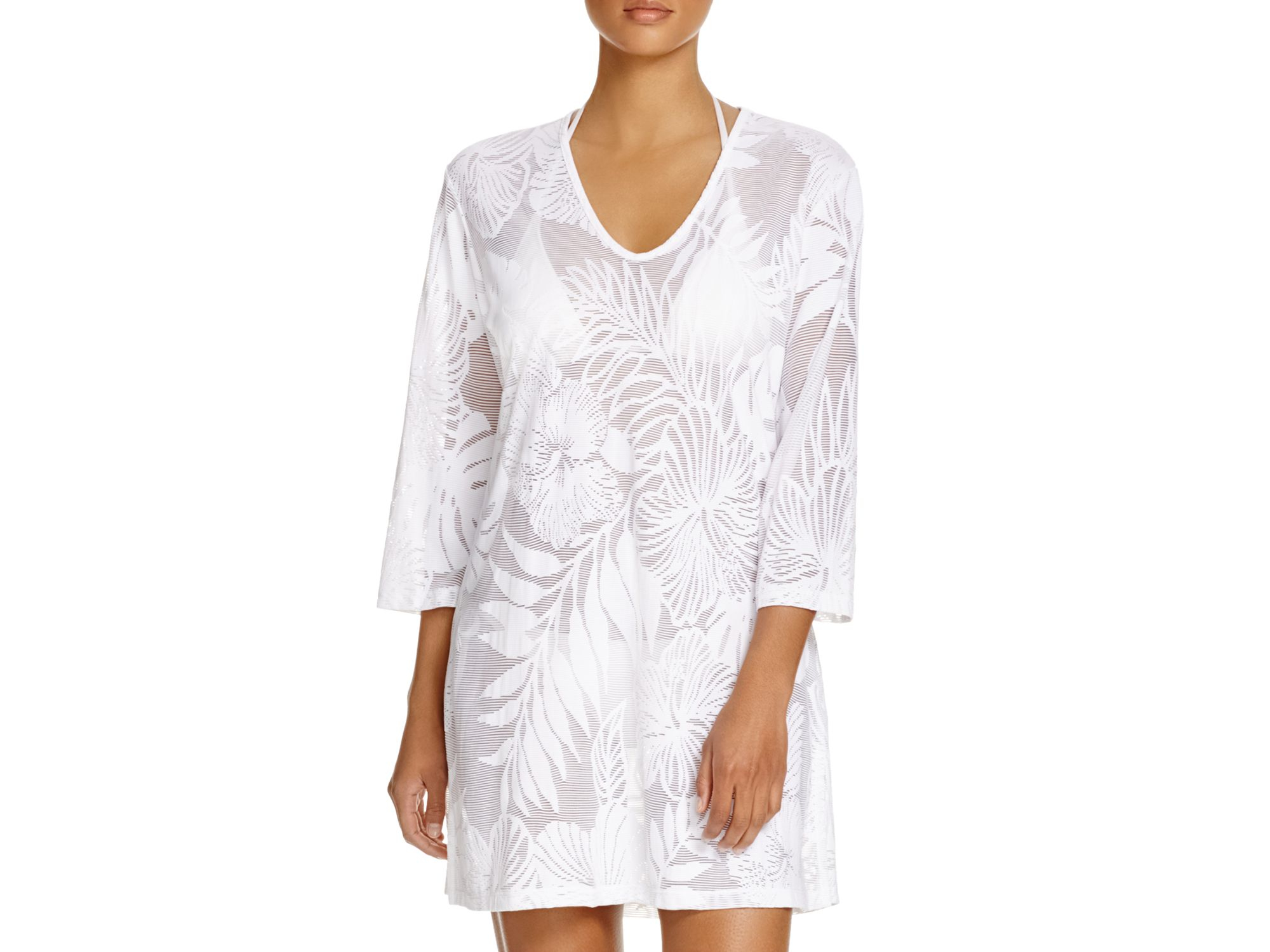 0b80a070c3 Lyst - J Valdi Tropical Floral Tunic Swim Cover Up in White