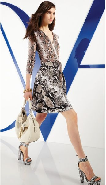 Dvf Amelia Lace Combo Wrap Dress Silk Combo Wrap Dress in