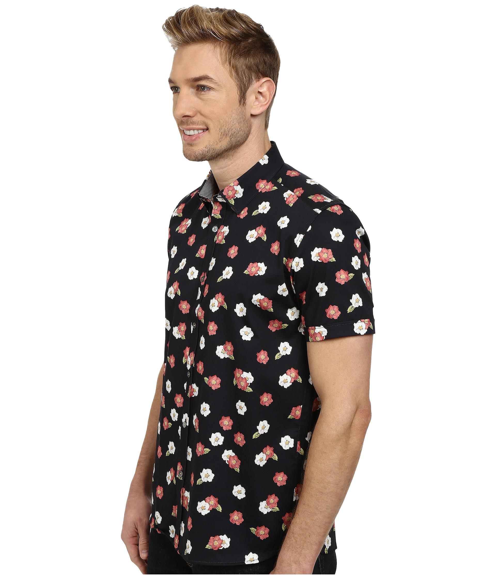 Slim Short Sleeve Floral Shirt - Navy Ted Baker Sneakernews For Sale tTrfb