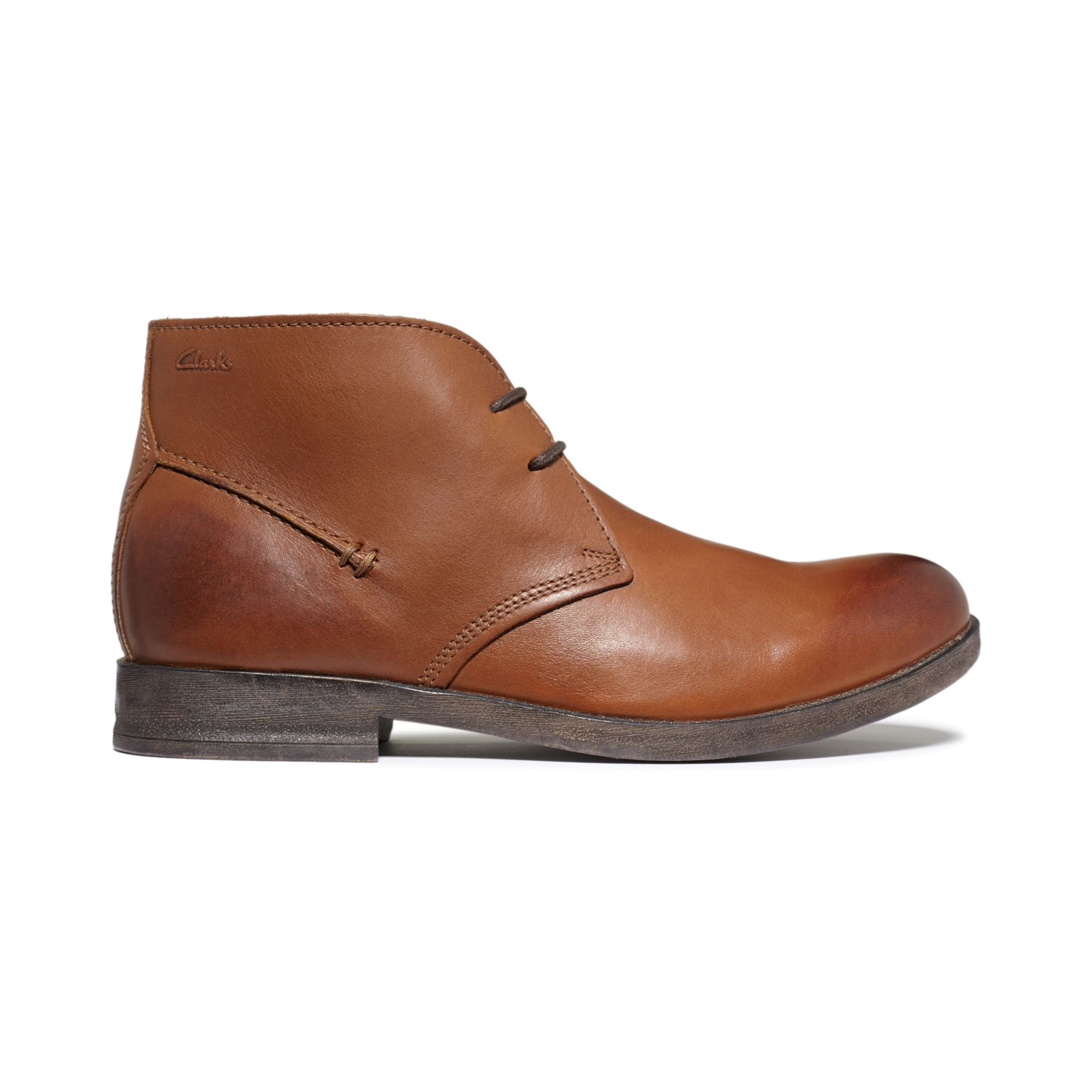 clarks goby hi chukka boots in brown for brown