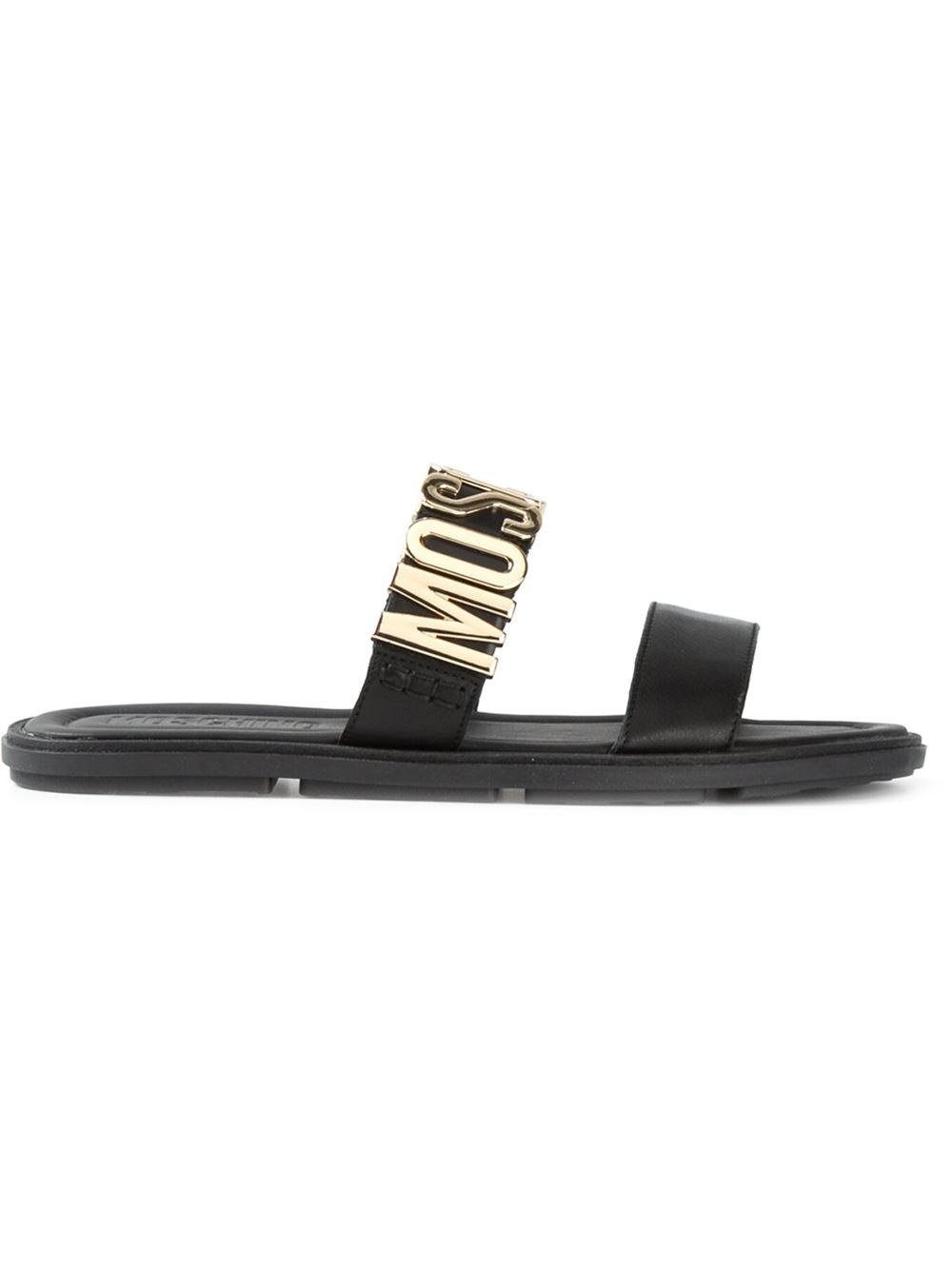 14ef6e94b6a Lyst - Moschino Logo Plaque Sandals in Black for Men