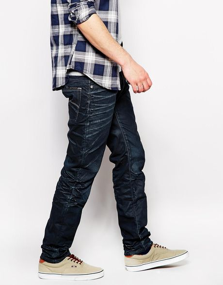 star raw g star jeans 3301 low tapered coated dark aged in blue for. Black Bedroom Furniture Sets. Home Design Ideas