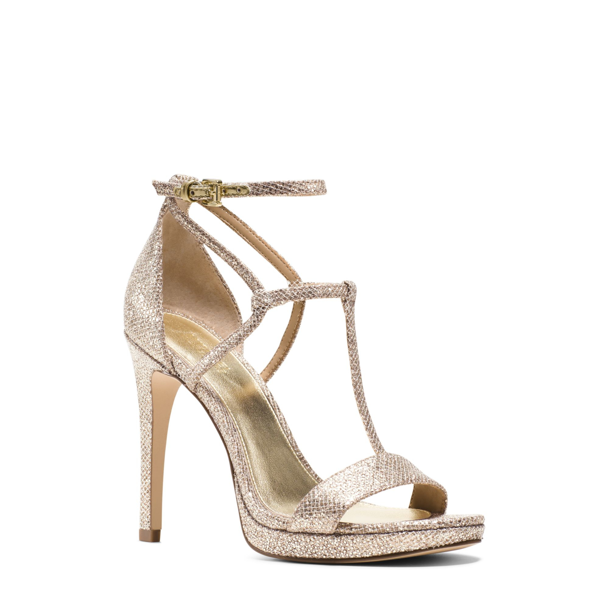 a75b87d3e984 Lyst - Michael Kors Simone Glitter Leather Sandal in Metallic