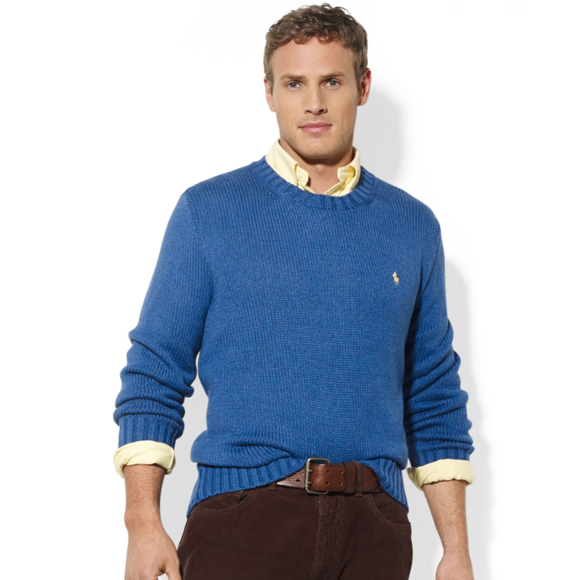 Ralph lauren Crew Neck Cotton Sweater in Blue for Men | Lyst