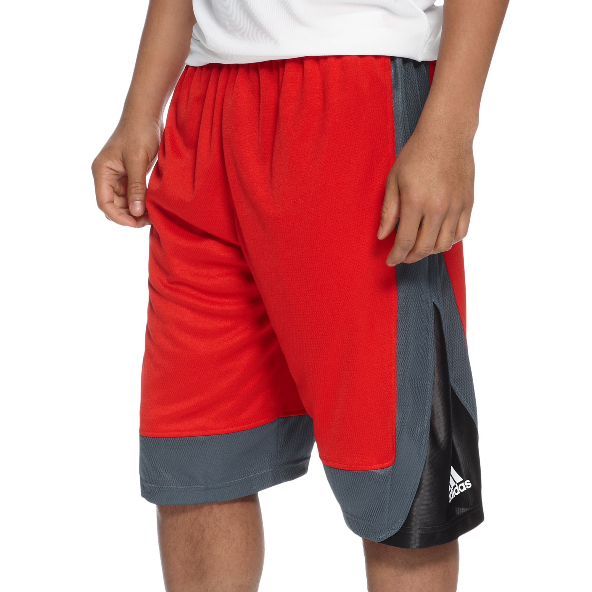 black and red adidas basketball shorts