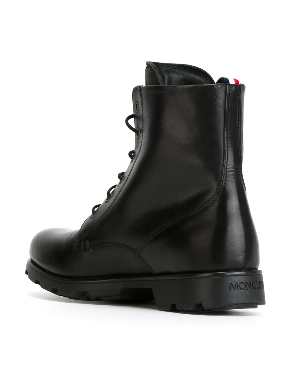 moncler lace up leather ankle boots in black for lyst