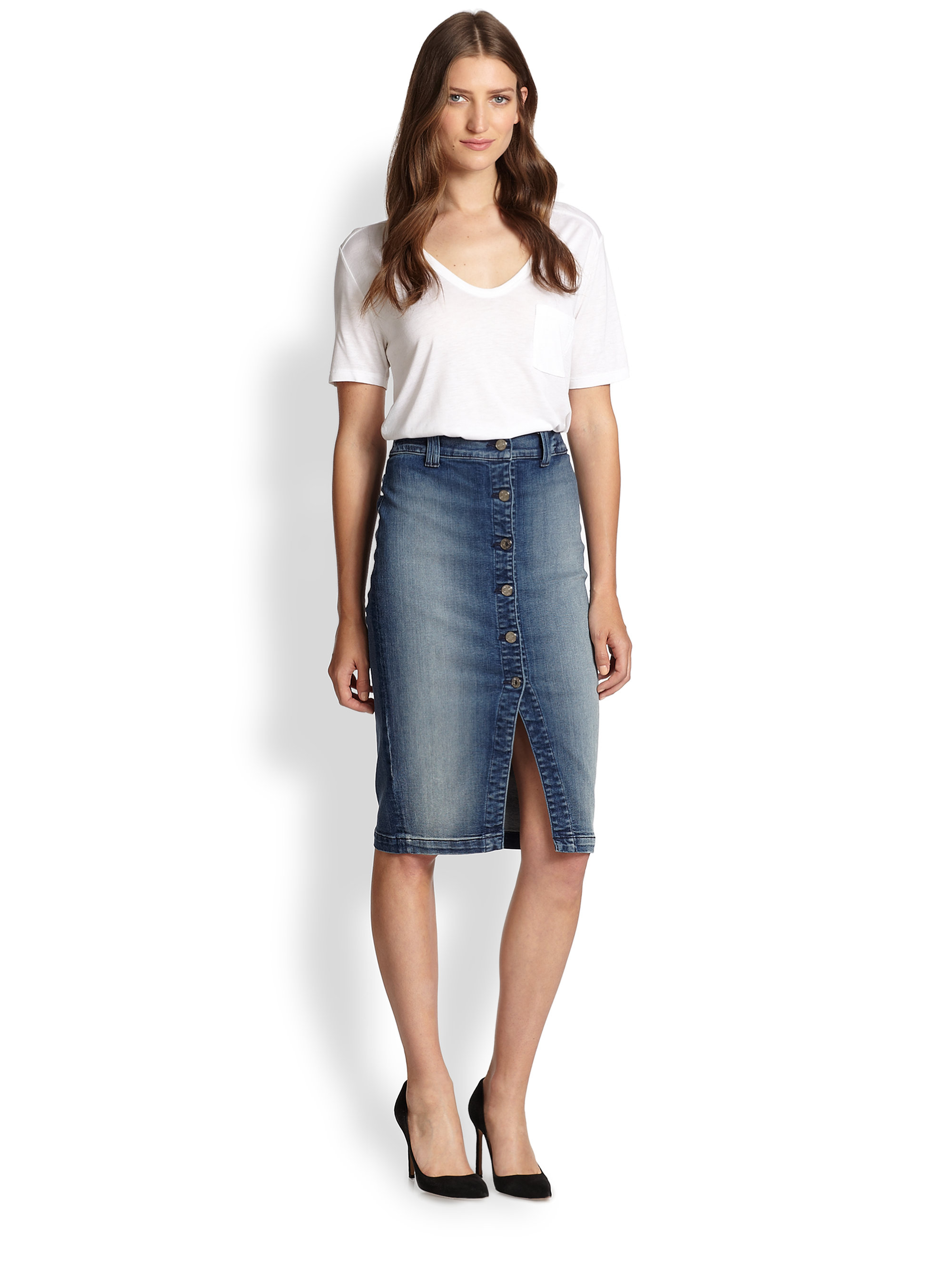 7 for all mankind buttonfront stretch denim pencil skirt