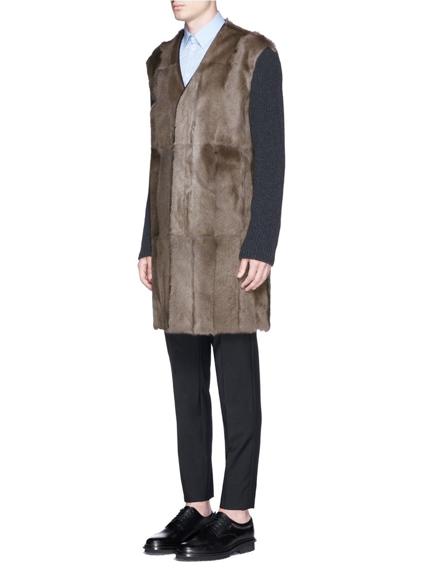 Marni Goat Fur Wool Coat in Brown for Men