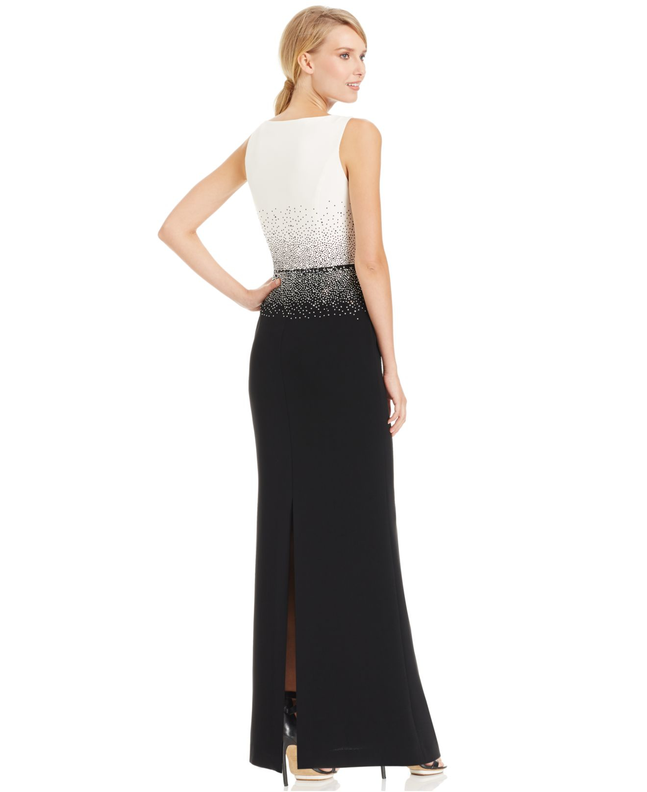 Lyst - Calvin Klein Studded Colorblocked Evening Dress in Black