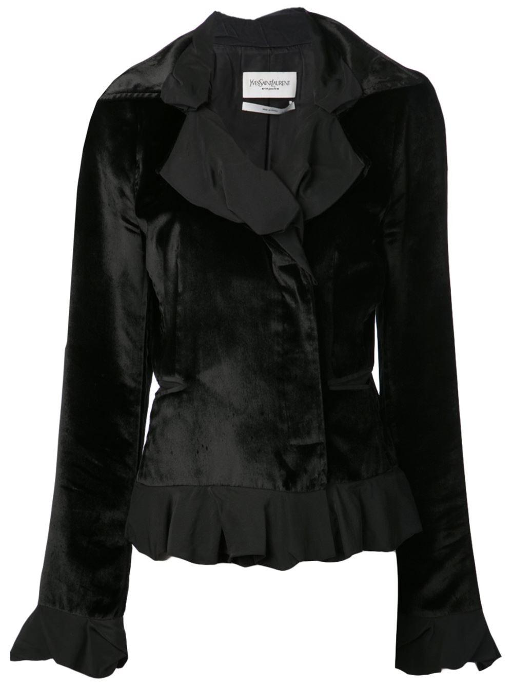 Yves Saint Laurent Vintage Velvet Ruffle Jacket In Black