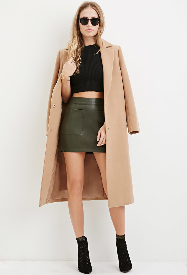 forever 21 faux leather mini skirt in green lyst