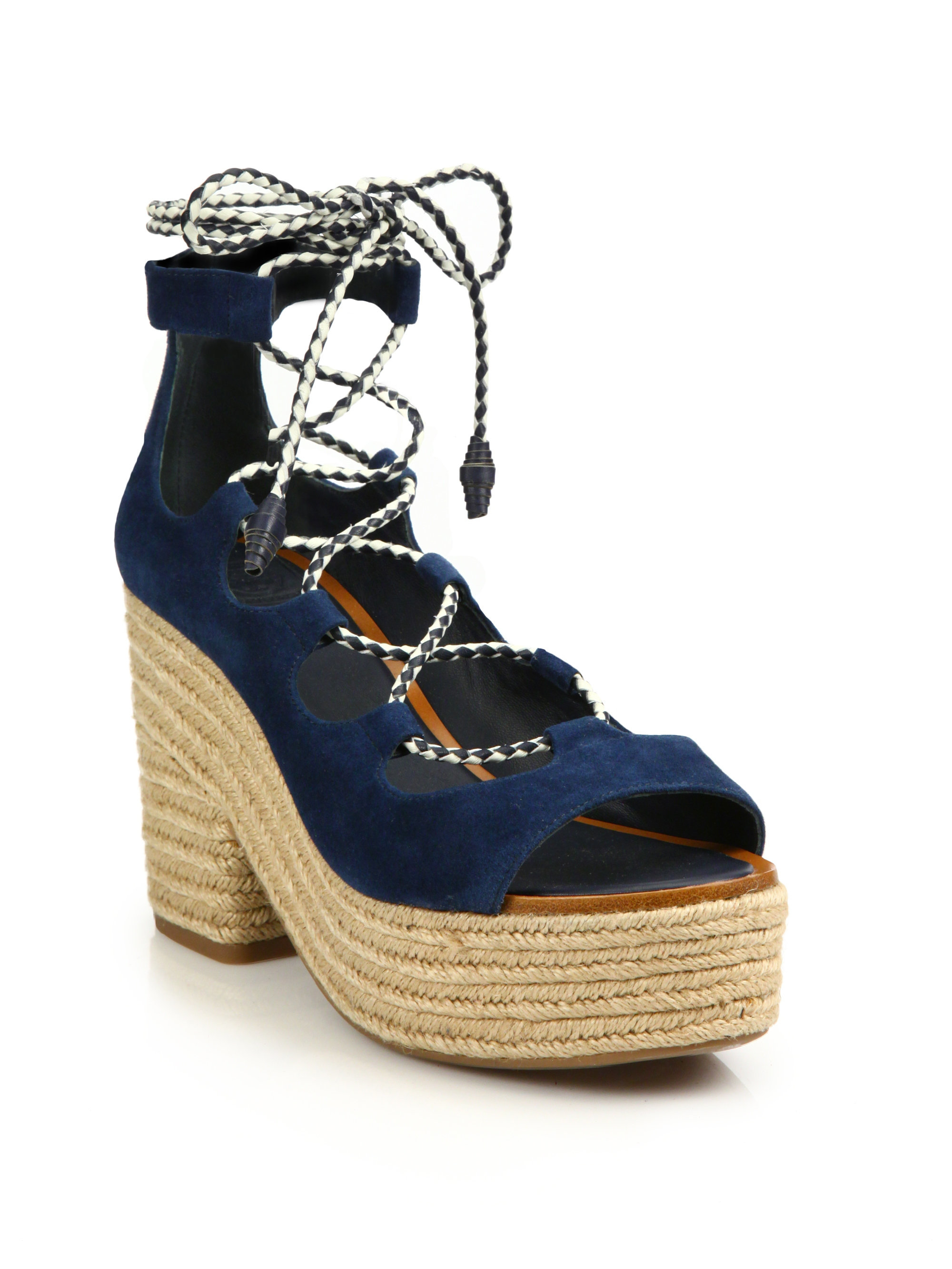 8b82f1b0623 Lyst - Tory Burch Positano Suede Lace-up Espadrille Platform Sandals ...