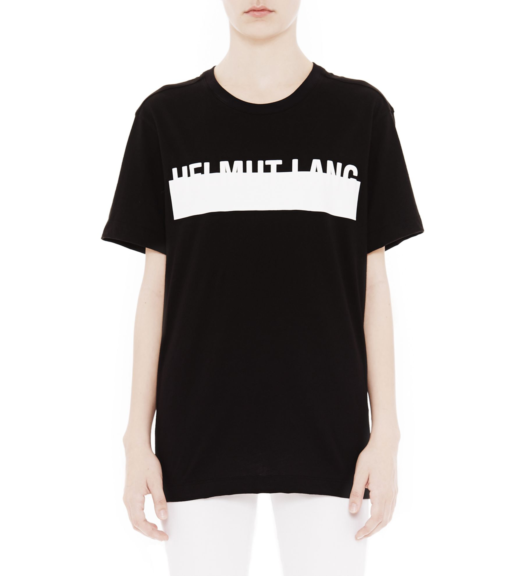 helmut lang womens logo t shirt in black lyst. Black Bedroom Furniture Sets. Home Design Ideas