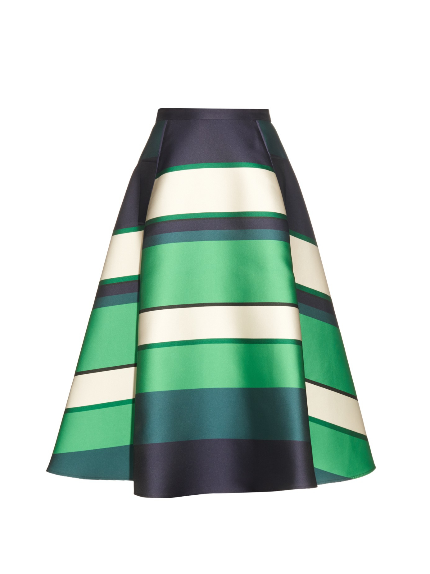 Lanvin Duchesse Stripe Berlingot A-line Skirt in Green | Lyst