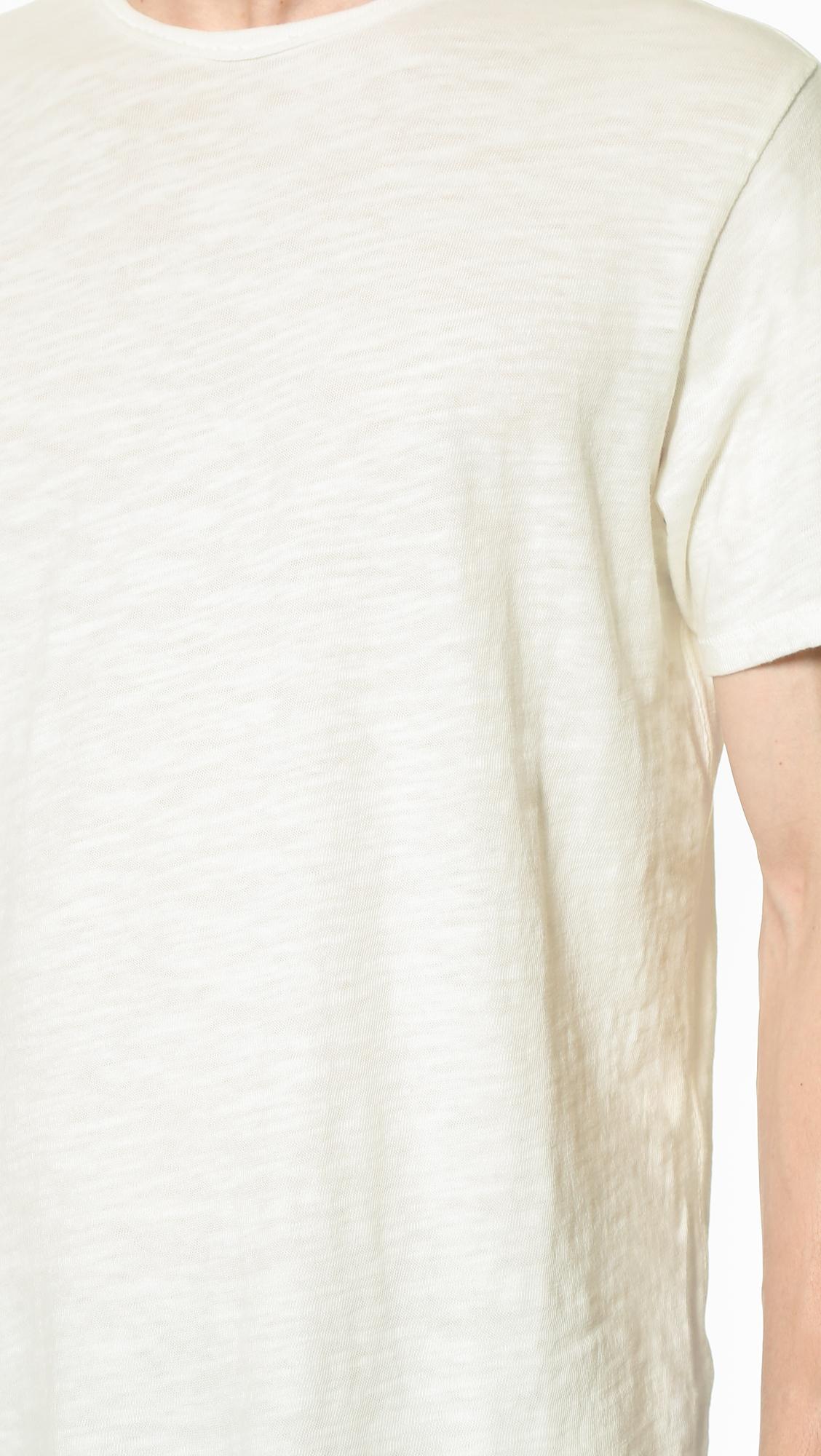 Rag bone basic t shirt in white for men lyst for Rag and bone white t shirt