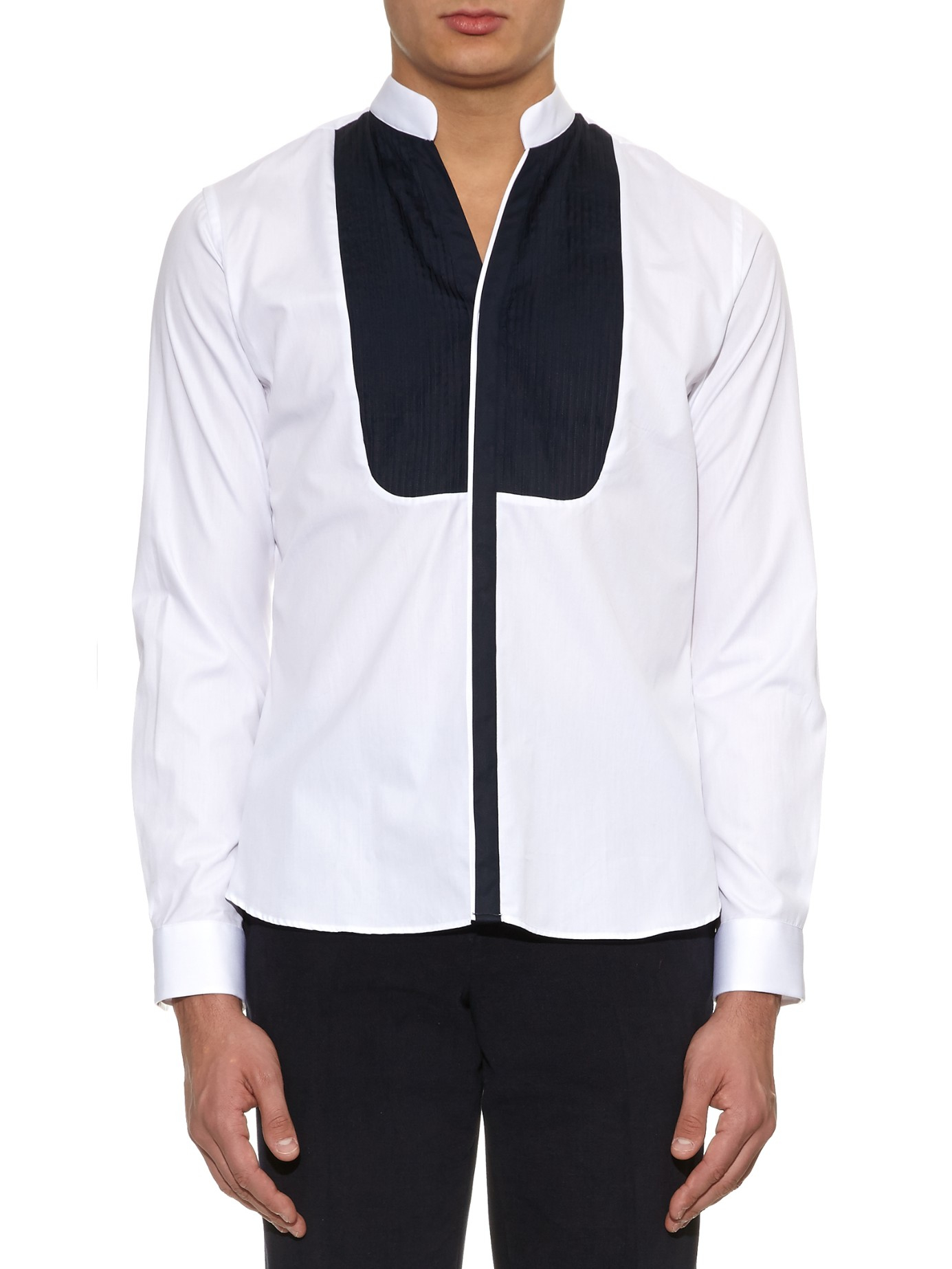 Lyst - Mathieu Jerome V-neck Collar Pleated-bib Cotton Shirt in Black for  Men