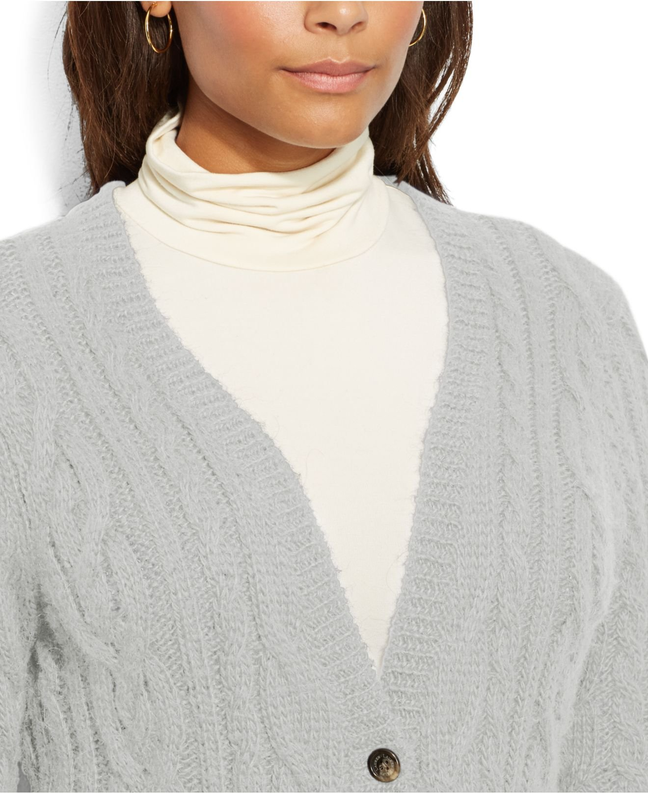 Lyst Lauren By Ralph Lauren Plus Size Cable Knit Sweater Coat In Gray