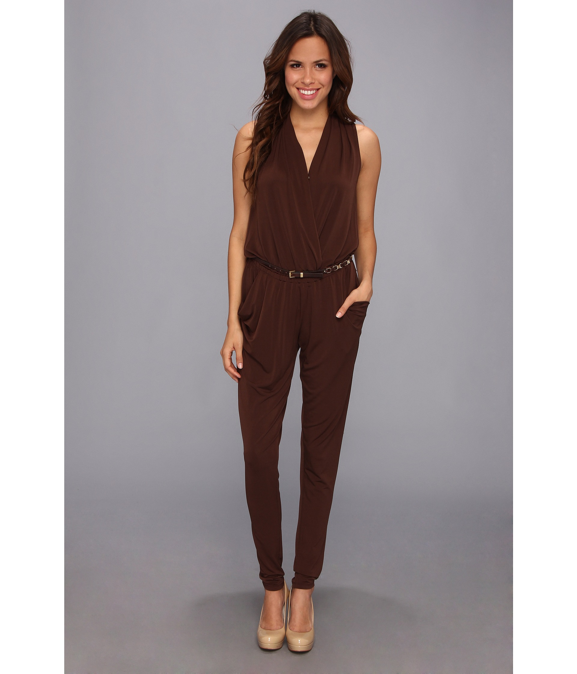 947fef1d605 Lyst - MICHAEL Michael Kors Sleeveless Belted Jumpsuit in Brown