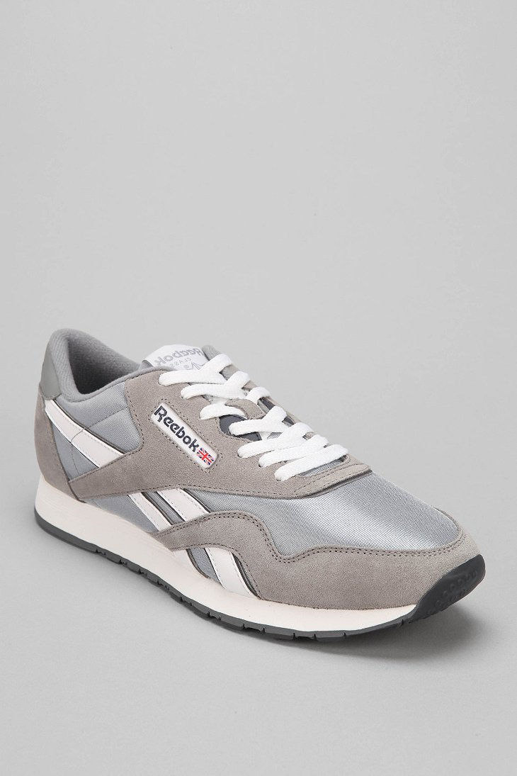 reebok classic nylon sneaker in silver for men lyst. Black Bedroom Furniture Sets. Home Design Ideas