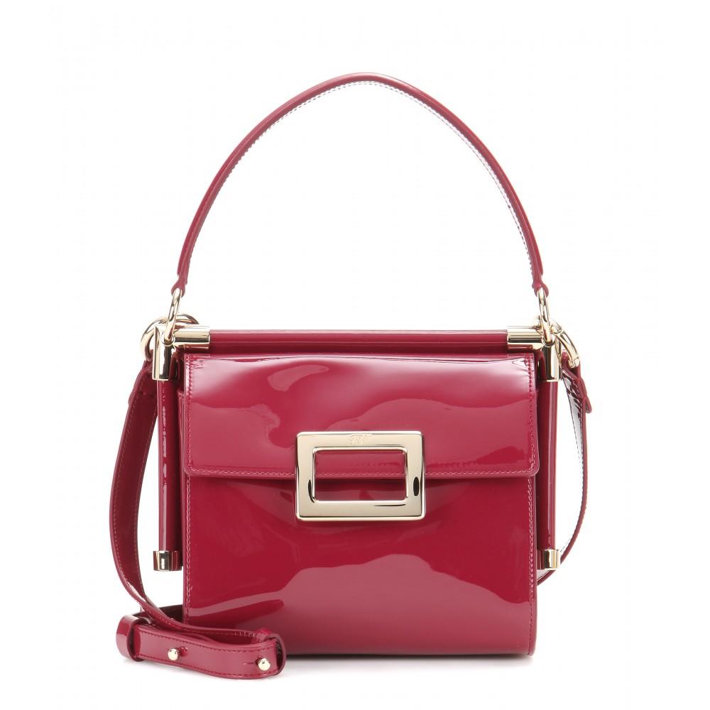 aae896f8ea5d Lyst - Roger Vivier Miss Viv Mini Patent-Leather Shoulder Bag in Purple