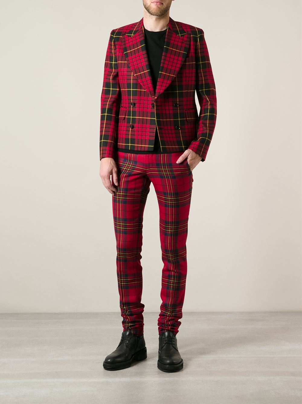 Comme Des Gar 231 Ons Tartan Check Trousers In Red For Men Lyst