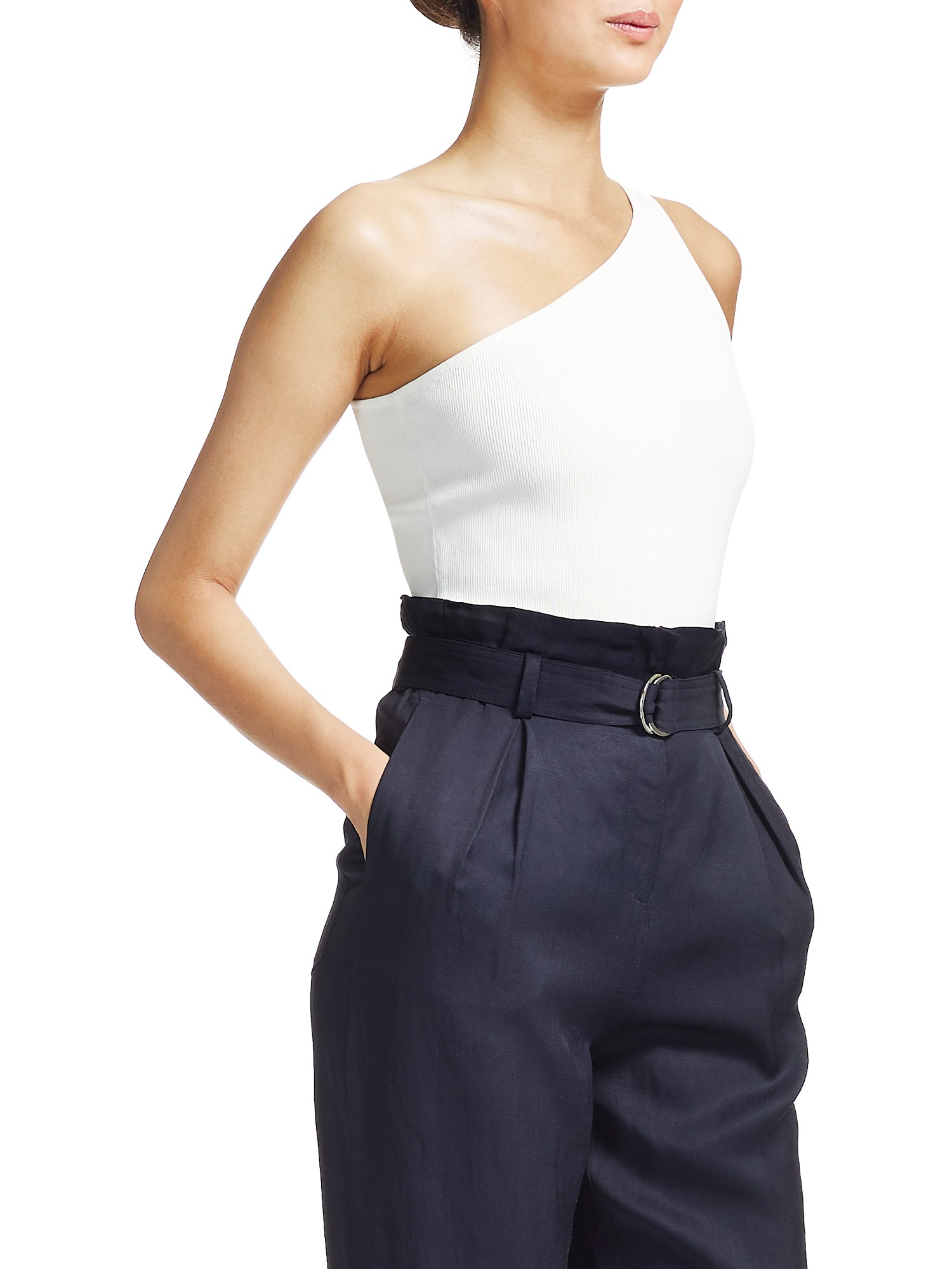 4ed9c3e707aca Whistles Brava Knitted One Shoulder Top in White - Lyst