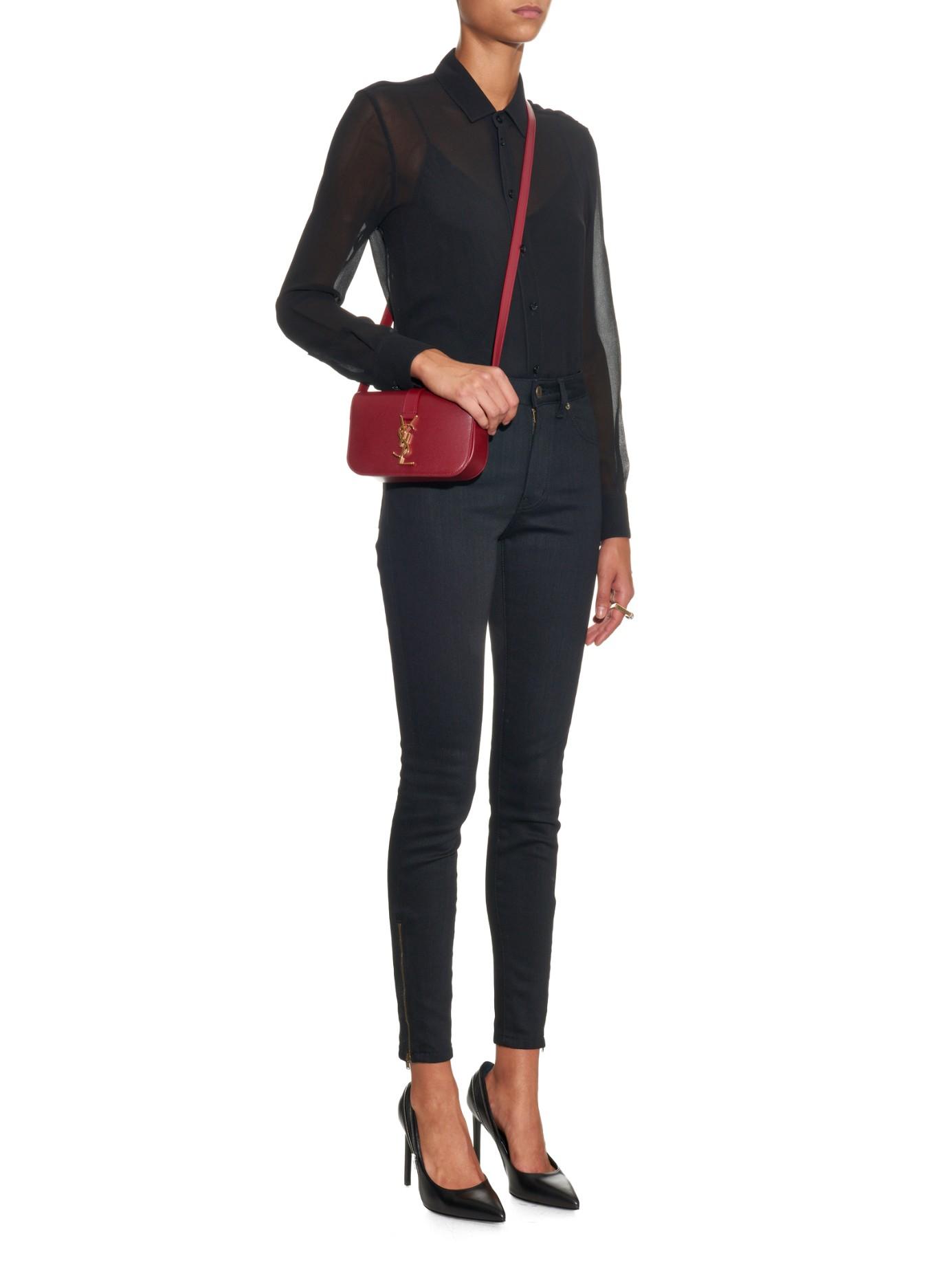 Lyst - Saint Laurent Université Leather Cross-Body Bag in Purple 52999d13baa5e