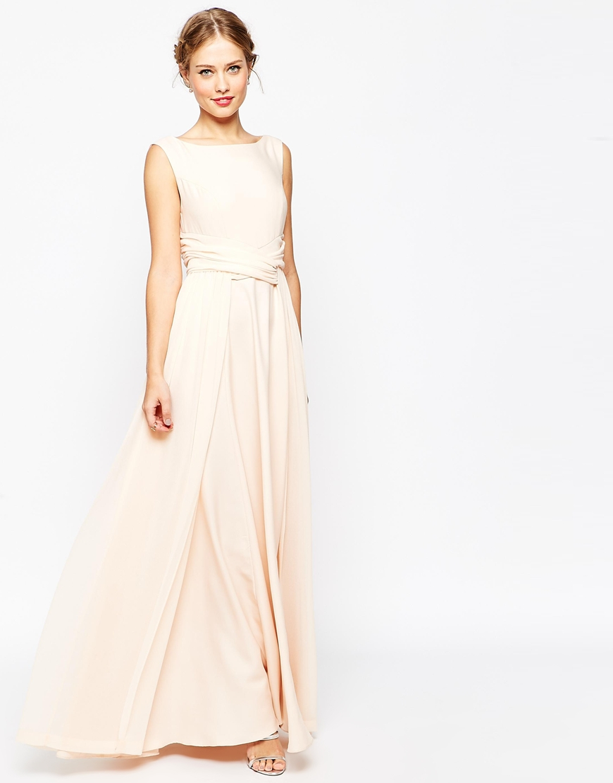 asos wedding soft maxi prom dress in beige nude lyst. Black Bedroom Furniture Sets. Home Design Ideas