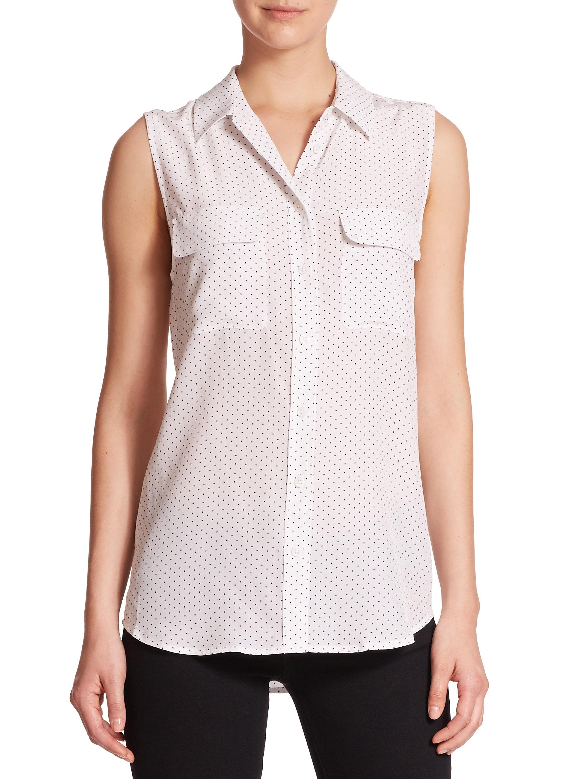 Equipment slim signature silk blouse in natural lyst for Equipment black silk shirt