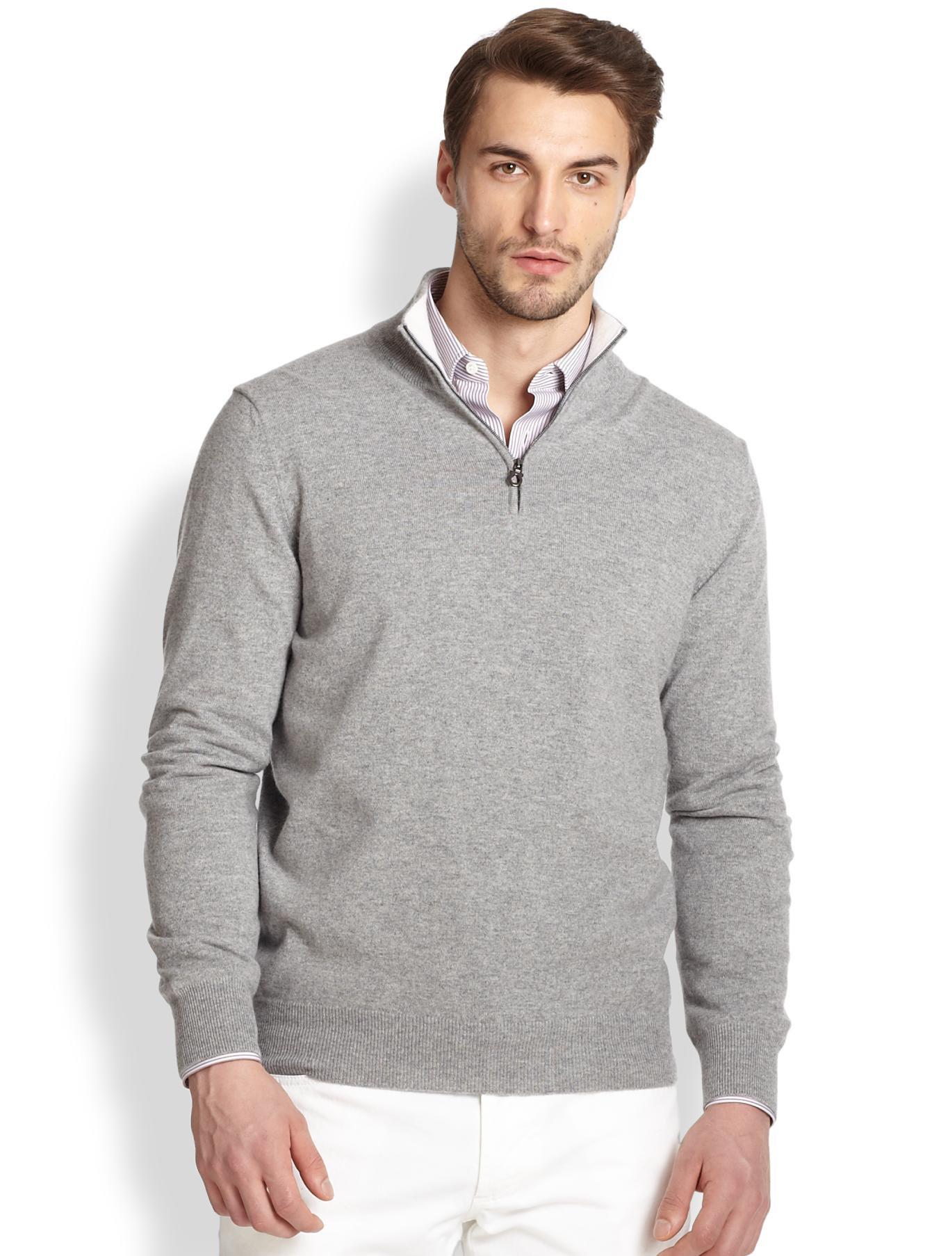 Ferragamo Cashmere Quarter-Zip Sweater in Gray for Men | Lyst