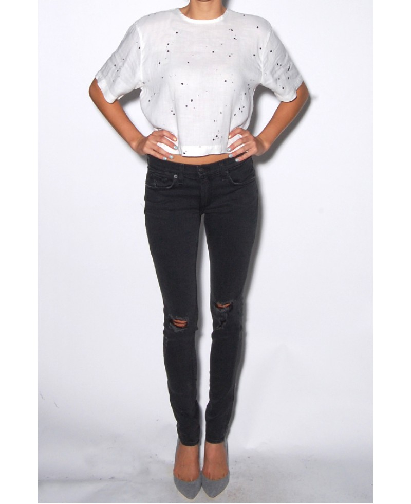 d45f88b40d98 Rag & Bone Soft Rock With Holes Skinny Jeans in Black - Lyst