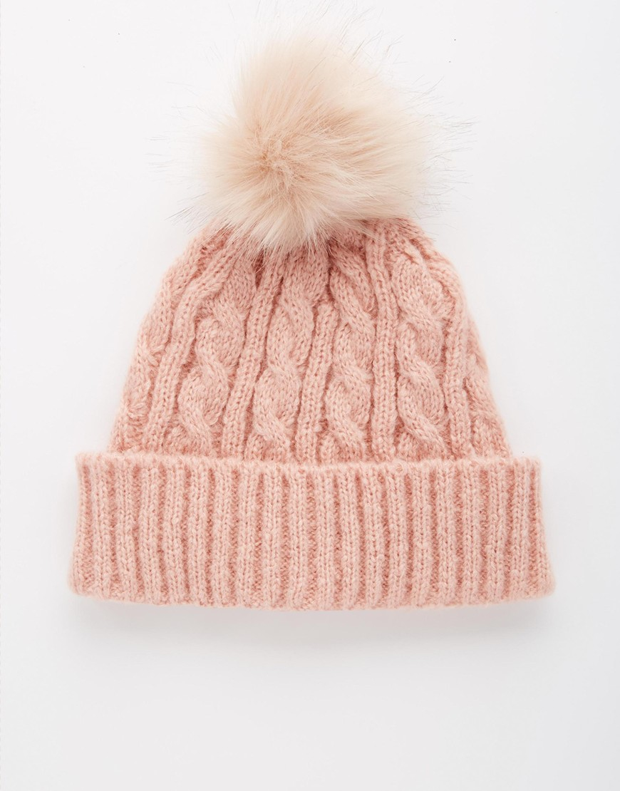 Lyst - ASOS Cable Faux Fur Pom Beanie in Pink 59b0df3e2a9