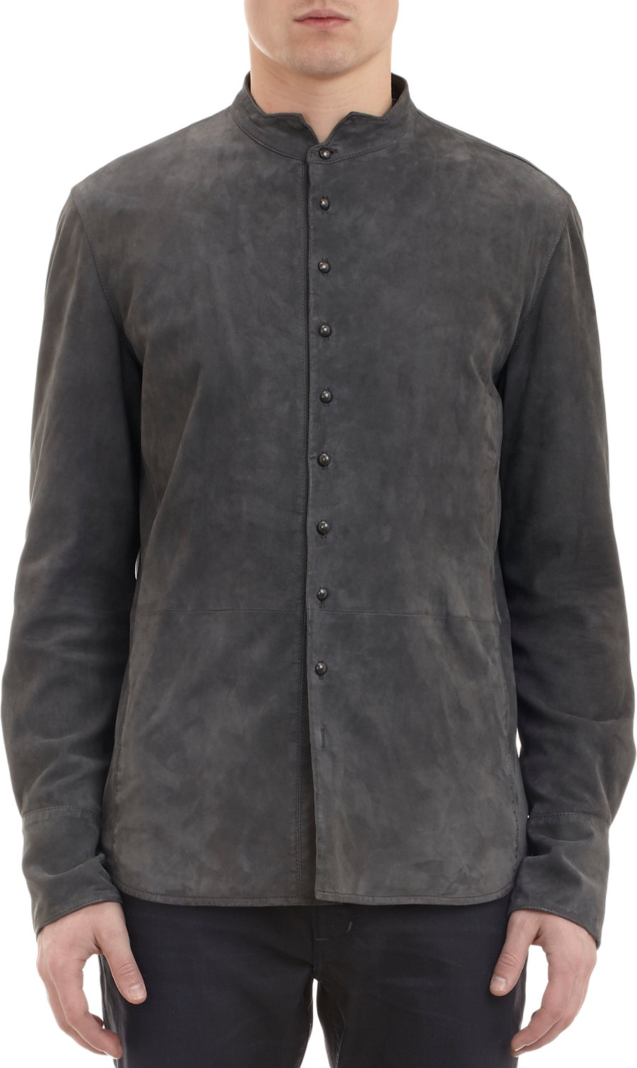 john varvatos suede shirt jacket in gray for men grey lyst