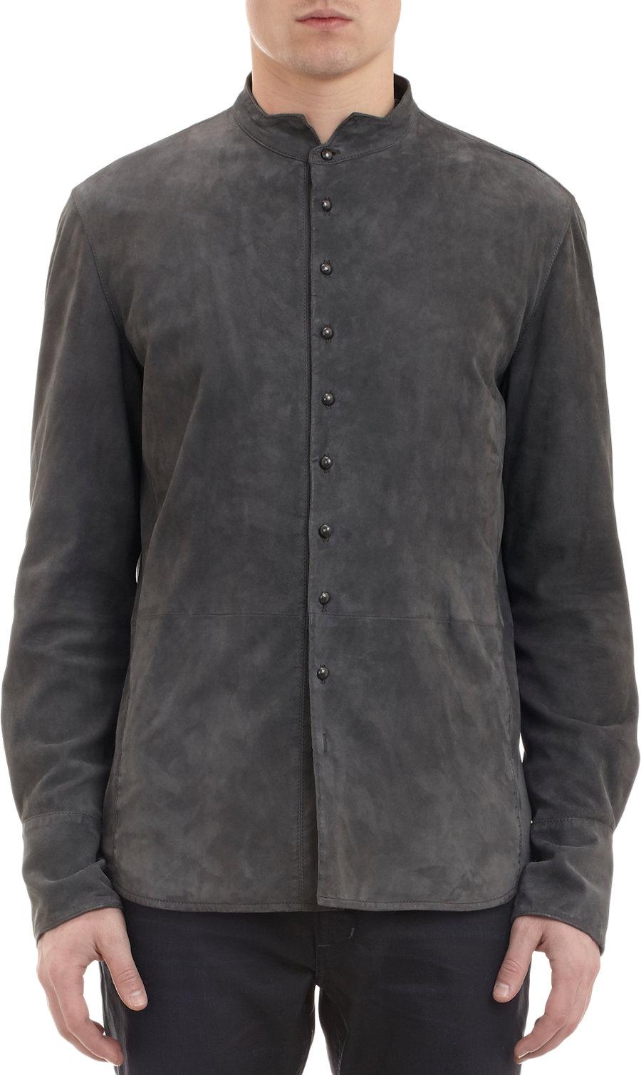 john varvatos suede shirt jacket in gray for men grey lyst
