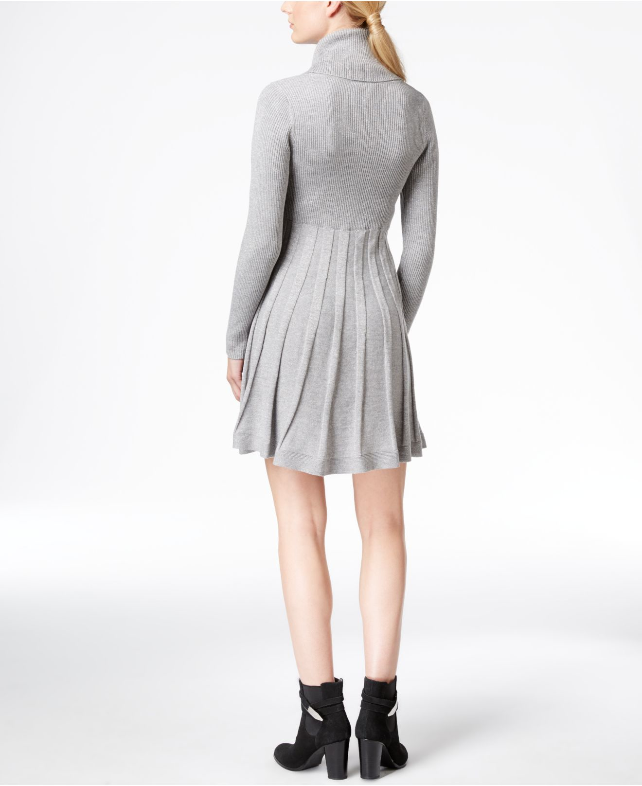 d8a1d85406 Calvin Klein Cowl-neck Fit   Flare Sweater Dress in Gray - Lyst