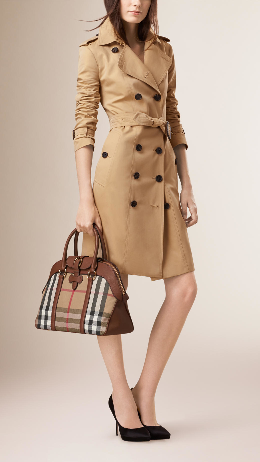 afe0a714728c Lyst - Burberry Large House Check And Leather Bowling Bag in Brown