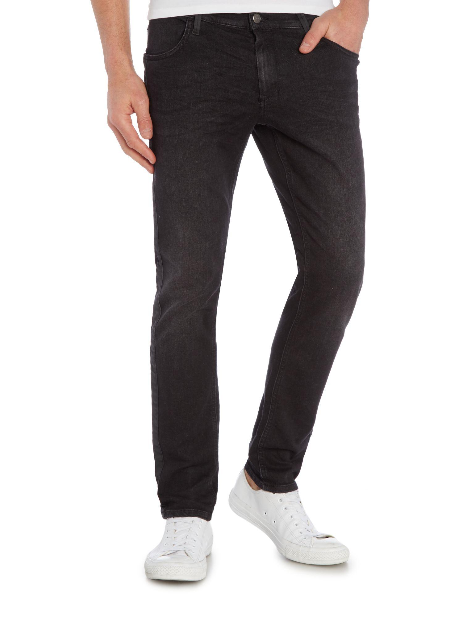 sisley men dark wash slim fit jeans in black for men lyst. Black Bedroom Furniture Sets. Home Design Ideas