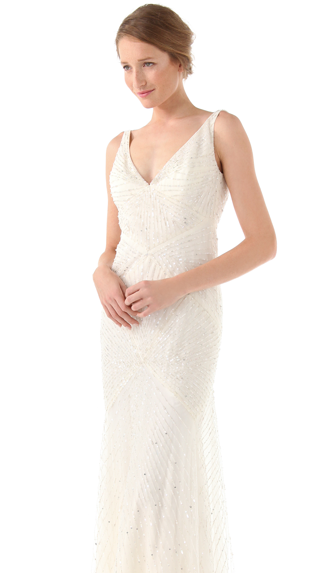 Lyst - Reem Acra Angelica Gown - Ivory in White