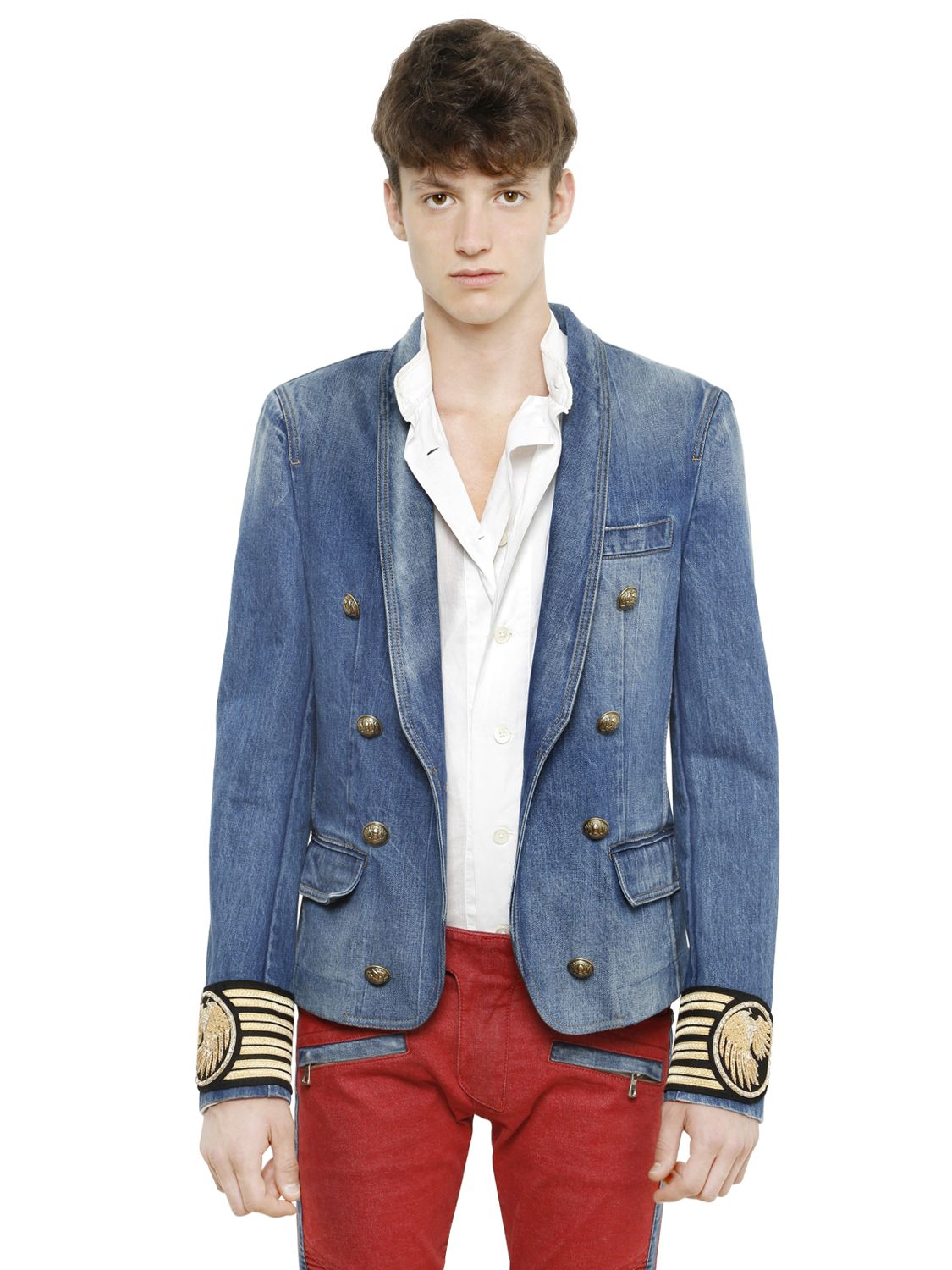 6e4ab24d Balmain Double Breasted Cotton Denim Jacket in Blue for Men - Lyst