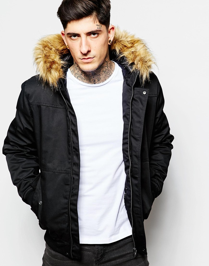 Minimum Bomber Jacket With Faux Fur in Black for Men | Lyst