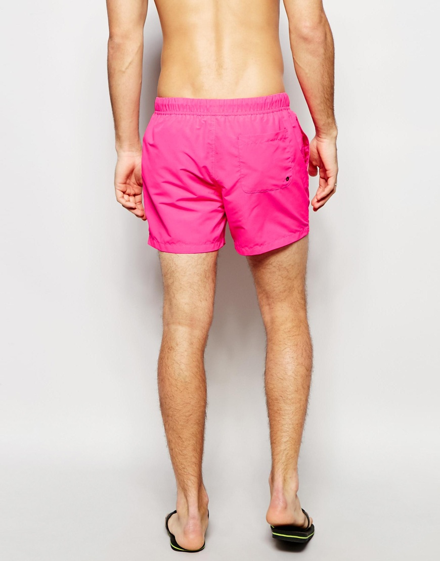 9bee2d7e26 ASOS Swim Shorts 2 Pack In Neon Pink And Black In Short Length Save ...
